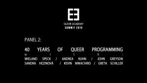 Queer Academy Panel 2-40 Years of Queer Programming